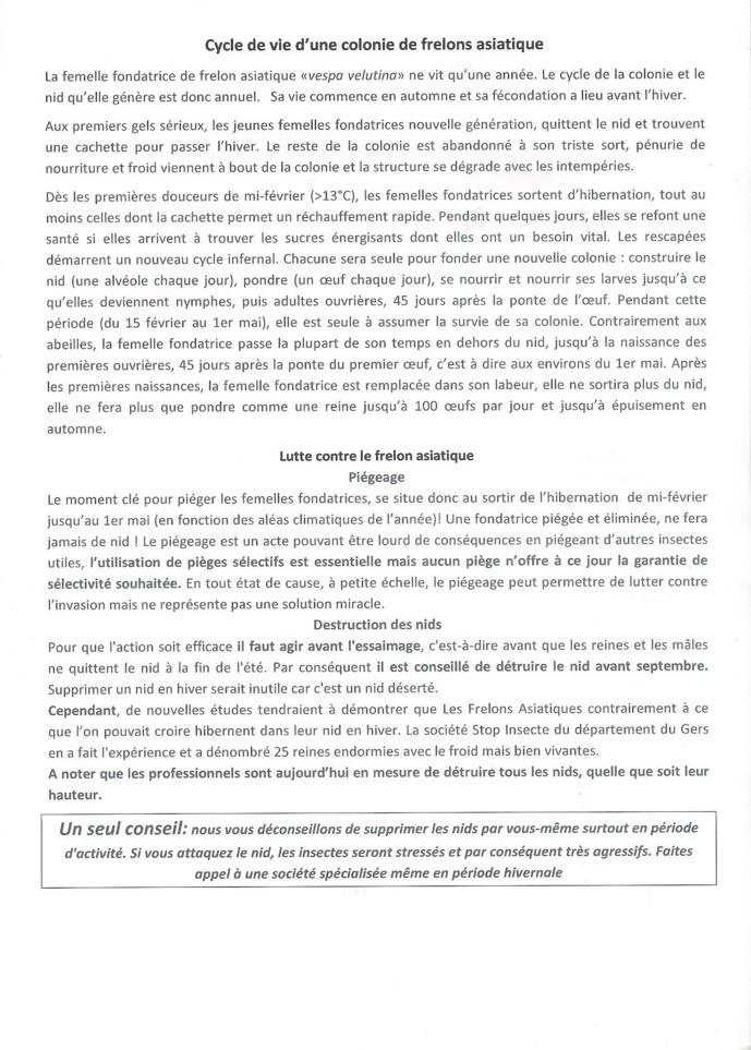 FRELONS ASIATIQUES - Note d'Information