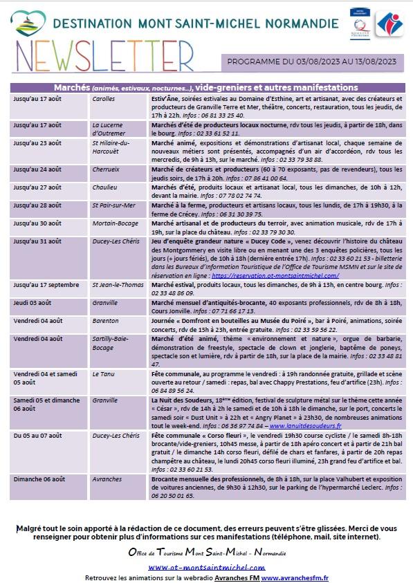 Mont Saint Michel - Normandie - Evénements du 22/07 au 01/08