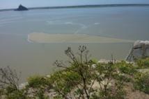 Banc de sable entre le Mont et Tombelaine à marée montante
