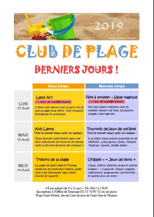Club de plage : programme du 12 au 14 août