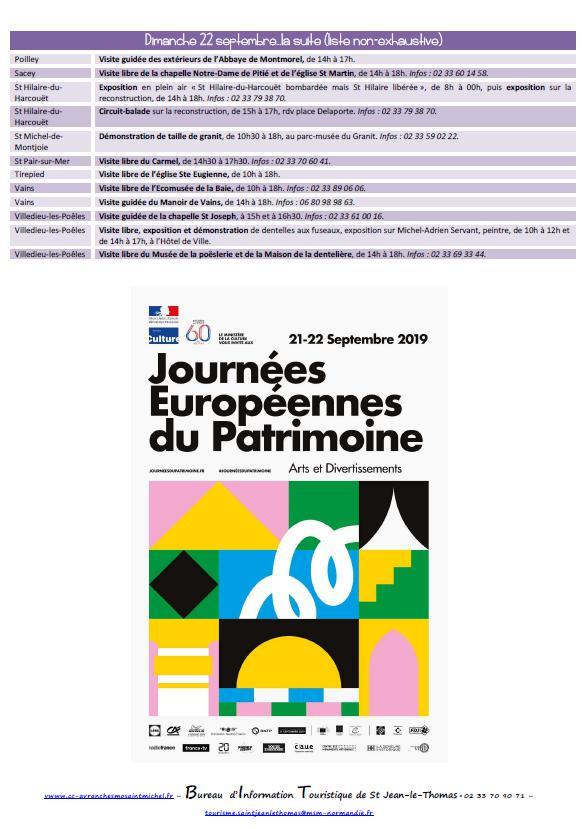 Journées européennes du Patrimoine 2019