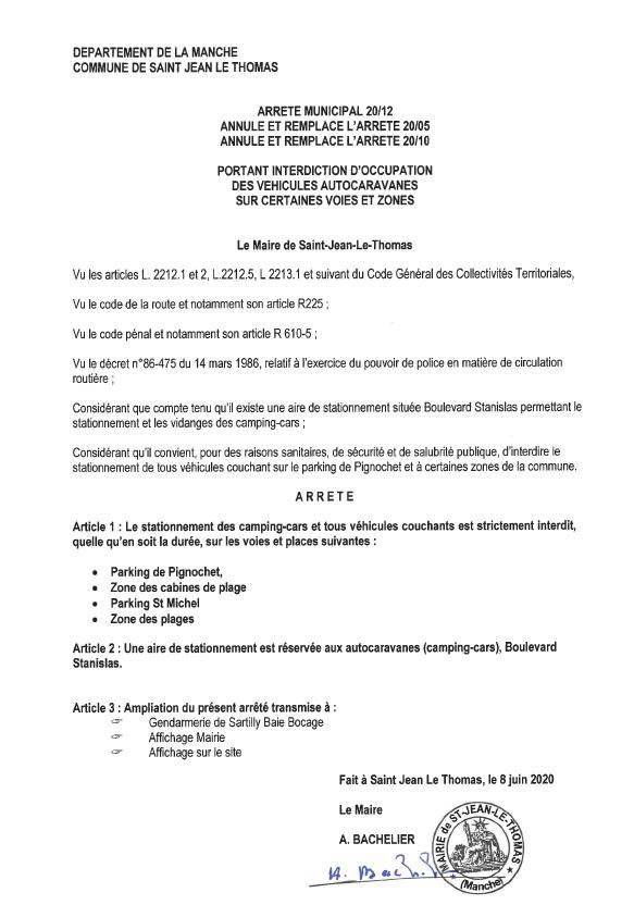 Réouverture des plages de Saint jean le Thomas avec restrictions (camping-cars-cabines-sanitaires)