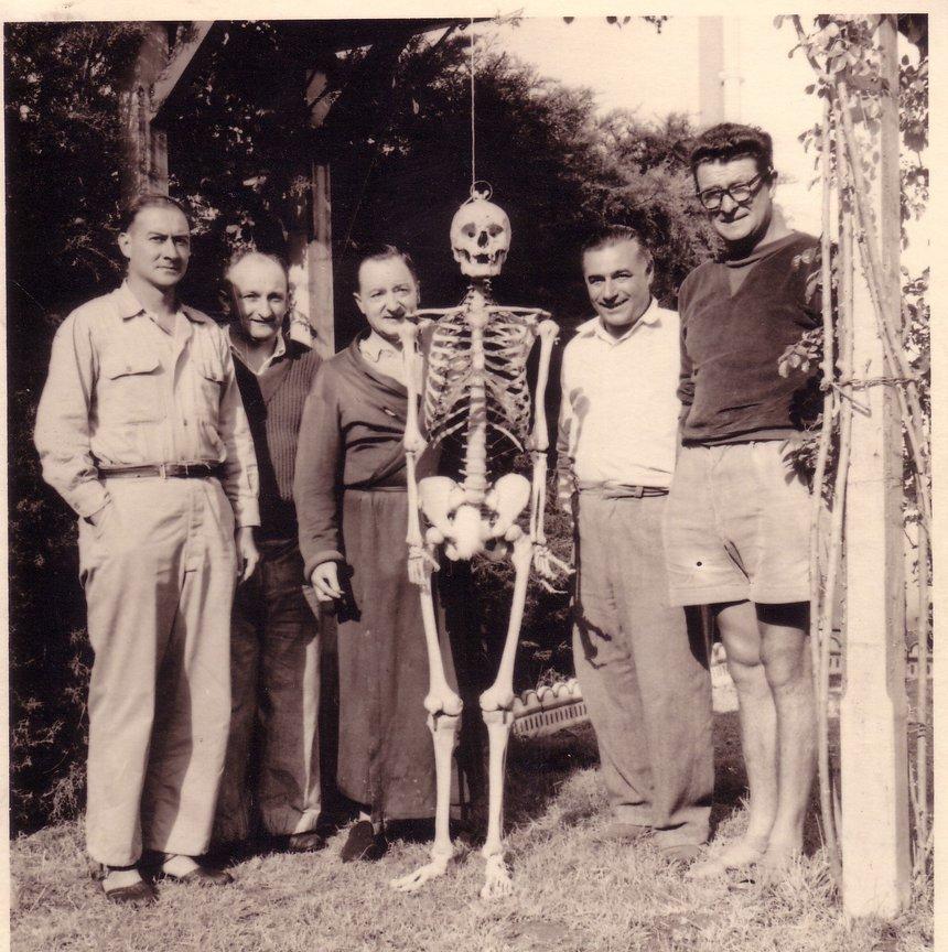 De Droite à gauche, Albert Houtteville, Dédé Lambert, le Squelette, Richard Anachréon, Louis Redon et un ami